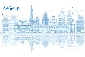 Outline Antwerp Skyline