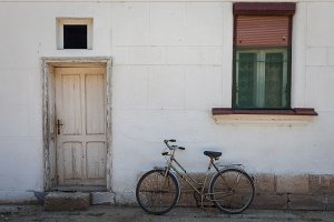 Bicycle in front of village house