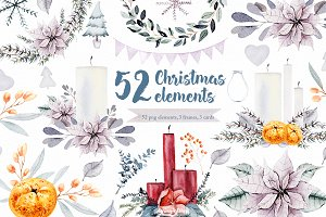 Snow watercolor clipart, flower