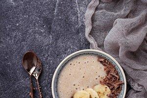 Banana and chocolate smoothie bowl.