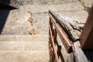 vintage wood and steel stairs fence