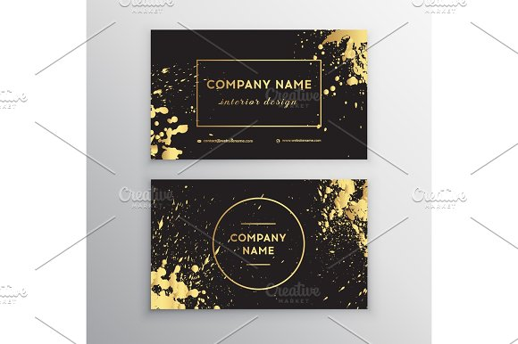 Vector Golden Business Card With Brush Splashes