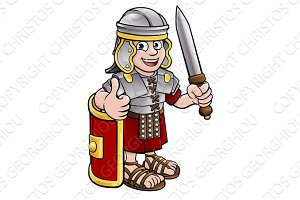 Cartoon Roman Soldier Character