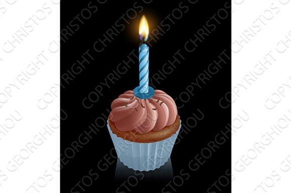 Chocolate Fairy Cake Cupcake With Birthday Candle