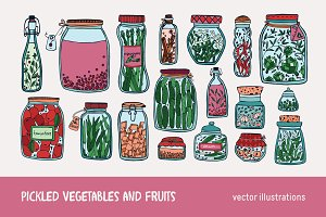 Pickled vegetables, fruits in jars