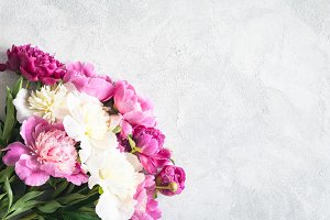 Feminine background with peonies