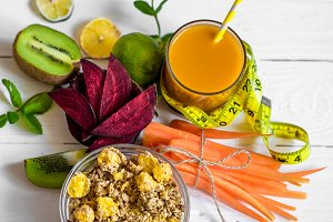 healthy Breakfast with juice and fruit
