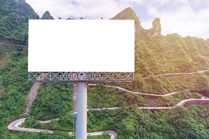 billboard blank on countryside road