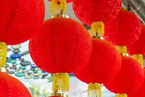 Traditional red lantern hanging