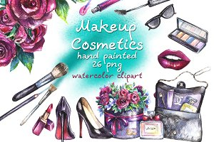 Makeup Cosmetics Watercolor Clipart