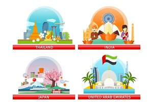 Web Buttons Travel to Japan, Thailand, India, UAE
