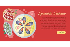 Spanish Cuisine Web Banner. Paella. Jamon. Tapas