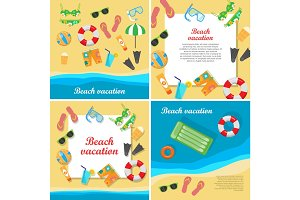 Beach Vacation Vector Concept in Flat Style Design