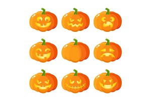 Set of cartoon Halloween pumpkin jack-o-lanterns showing various emotions