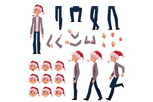 Man in Santa hat, character creation set, Christmas celebration