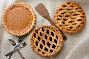 Three Assorted Pies on Burlap