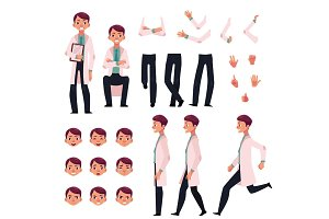 Doctor character creation set with different poses, gestures, faces