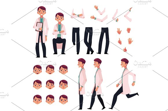 Doctor Character Creation Set With Different Poses Gestures Faces