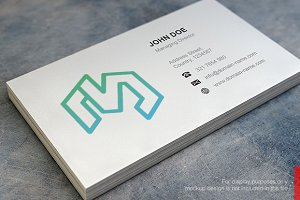 M Logo and Simple Business Card