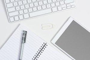 White Desk Tablet Grid Screen