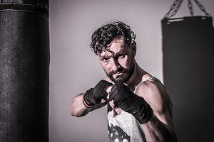 athletic male ready hands Boxing