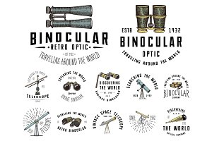 Binocular logo emblem or label astronomical instruments, telescopes oculars and binoculars, quadrant, sextant engraved in vintage hand drawn or wood cut style , old sketch glasses.