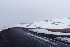 Snowy Winter Road in Iceland