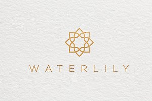 Water Lily Lotus Logo Template