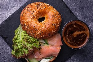 Bagels with salmon and coffee