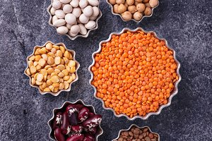 Chickpeas, lentils, peas and beans