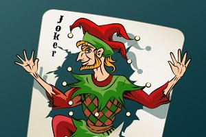 Joker Jumping Out From Playing Card