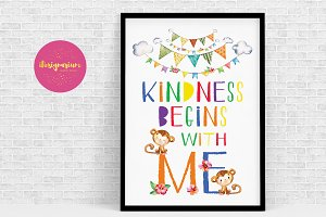 Kindness begins with me wall art