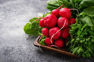 Radishes, spinach and parsley