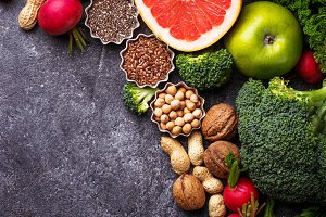 Vegetables, fruit, seeds and nuts