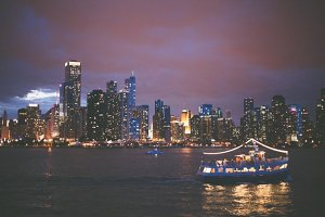 Nighttime Chicago Skyline with Boat