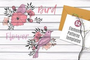 Birds & flowers. Wedding collection