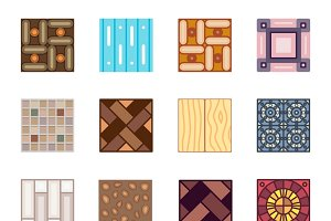 Floor materials flat vector icons