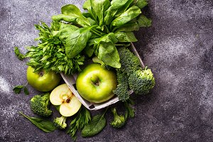 Green vegetables and fruits