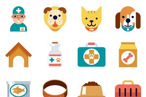 Veterinary flat icons