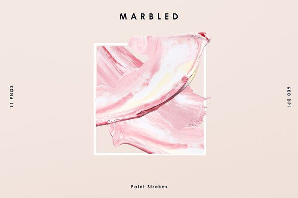 Pink Marbled; Paint Stroke
