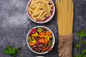 Different type of italian pasta