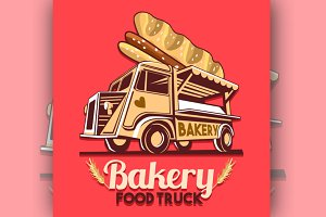 Food Truck Bakery Bread Logo