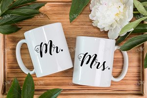 Two Mugs & Peony Mockup. PSD, smart.