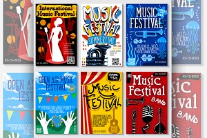 Jazz Music Festival Vector Posters
