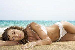 beach laying