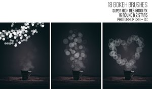 18 Bokeh brushes. Photoshop brushes.