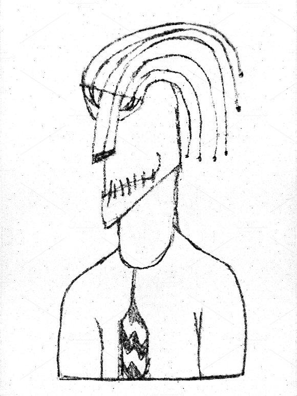 Pencil Drawing Alien Office Worker