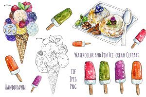 Ice-cream Watercolor Clipart