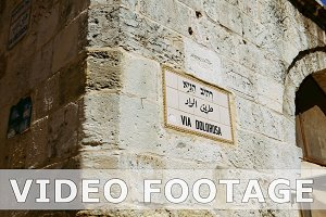 Via Dolorosa street sign in Jerusalem