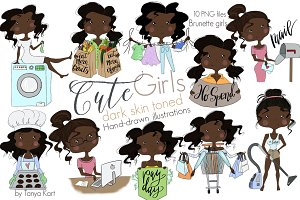 Dark Skin Toned  Girls Clipart